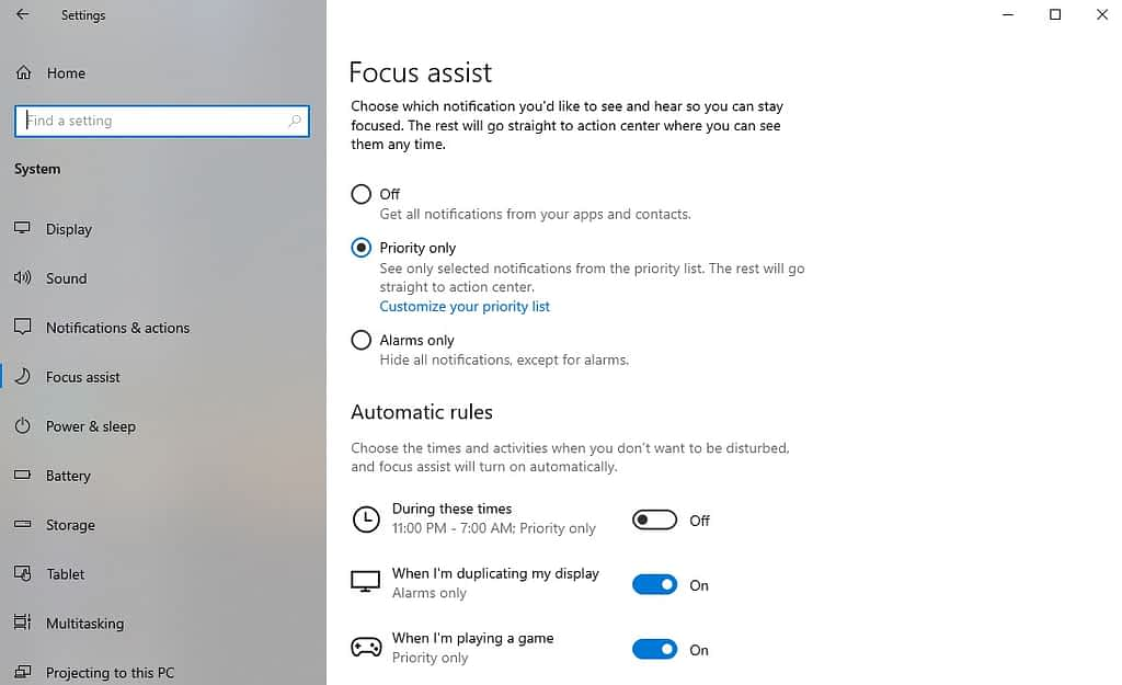 Focus assist to Turn Off Windows 10 Notifications