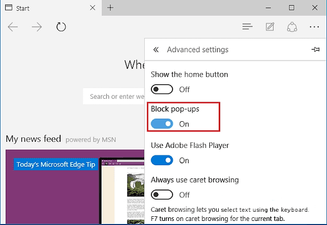Blocking pop-ups in Edge
